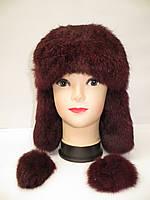 Теплая женская шапка ушанка - мех кролика, фото 1