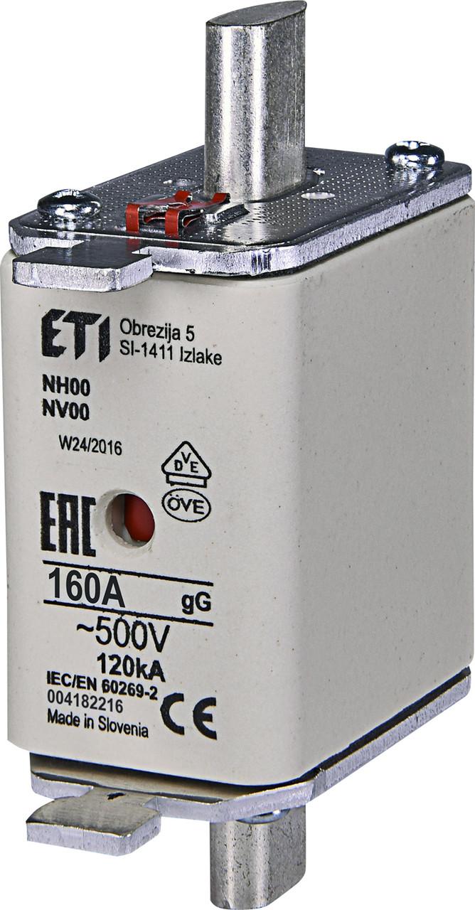 Предохранитель ETI NH-00 gL/gG 160A 500V KOMBI 120kA 4182216 ножевой универсальный
