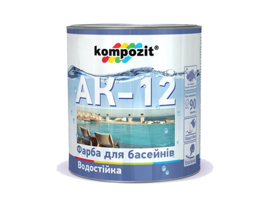 Краска для бассейнов Kompozit АК-12 (2.8 кг) голубая