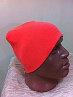 Вязаная  шапка для спорта с рожками , унисекс  цвет - оранжевый