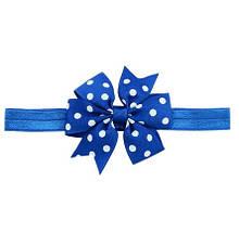 Детская повязка в горошек синяя - бант 8см, окружность 36-58см (размер универсальный)