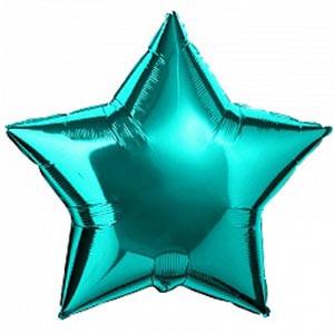 """Фольгована кулька зірка бірюзовий 18""""  Flexmetal"""