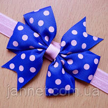 Детская повязка в горошек синяя с розовым - бант 8см, окружность 36-58см (размер универсальный)