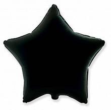 """Фольгированный шар звезда черный 18""""Flexmetal"""