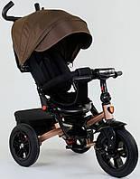 Детский велосипед трансформер 3-х колёсный шоколадный Best Trike 9500 с надувными колесами и фарой