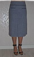 Прямая строгая класическая юбка-миди с закрытой склаткой спереди супер-батал  р-ры.48-64. Арт-1556/10, фото 1