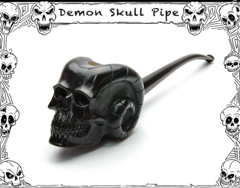 Резная курительная трубка Череп Демона из дерева груши с длинным мундштуком под фильтр 9 мм