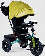 Детский велосипед трансформер 3-х колёсный желтый Best Trike 9500 с надувными колесами и фарой