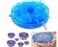Набор многоразовых силиконовых крышек для посуды Super Stretch 6 ШТУК
