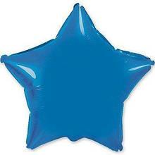 """Фольгированный шар звезда синий 18"""" Flexmetal"""
