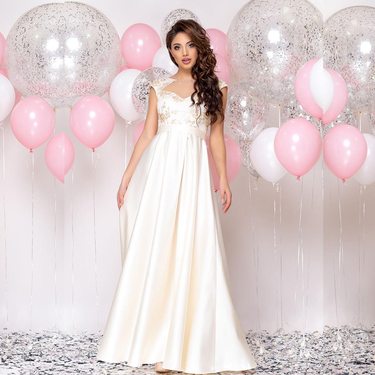 """Атласное длинное платье свадебное, на роспись, венчание размер L """"Рошель"""""""
