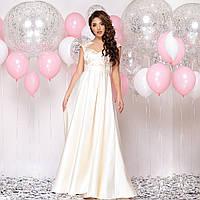 """Атласное длинное платье свадебное, на роспись, венчание размер L """"Рошель"""", фото 1"""
