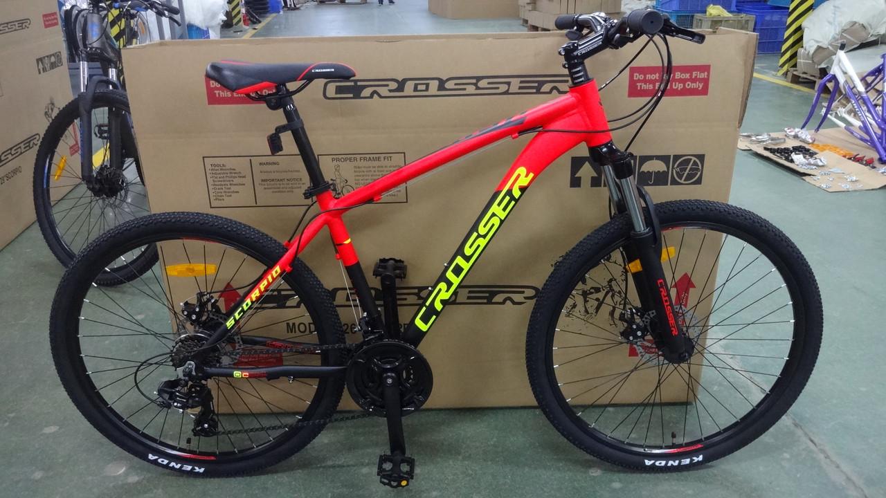 Велосипед CROSSER 26  SCORPIO 17 2020 года Черный \ Красный цвет