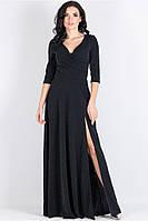 Платье нарядное полуприлегающего силуэта из трикотажа с люрексовой ниткой черного цвета с разрезом