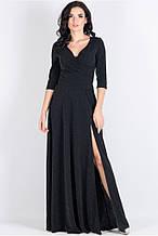 Ошатне плаття полупрілегающего силуету з трикотажу з люрексовой ниткою чорного кольору