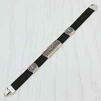 Серебряный браслет Спаси и сохрани, золотые вставки, черный, 20 размер, Diva