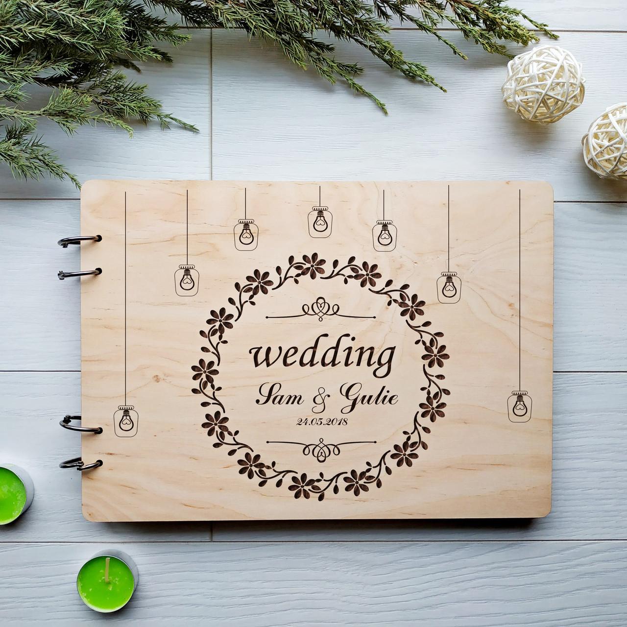 Гостевая книга из дерева на свадьбу под заказ