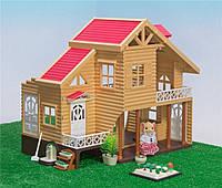 Домик вилла для зверят Happy Family с мебелью и светом, фото 1