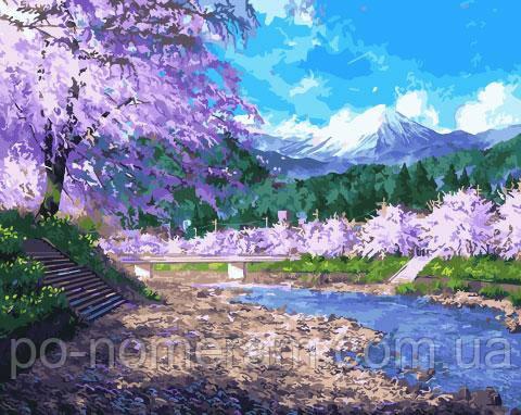 Картина по номерам  Сакура у реки (BK-GX27389) 40 х 50 см (Без коробки)
