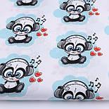 """Отрез ткани """"Панды в наушниках"""" бирюзовые на белом фоне №2580а, фото 2"""