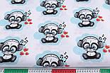 """Отрез ткани """"Панды в наушниках"""" бирюзовые на белом фоне №2580а, фото 3"""