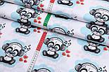 """Отрез ткани """"Панды в наушниках"""" бирюзовые на белом фоне №2580а, фото 4"""