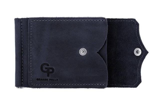 Зажим для купюр из матовой кожи Grande Pelle синий (110170), фото 2