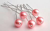 Шпильки для волос 5 шт розовая жемчужина 1 см