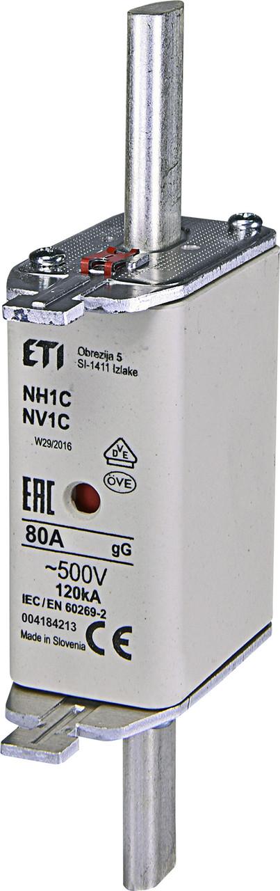Предохранитель ETI NH-1C gL/gG 80A 500V KOMBI 120kA 4184213 ножевой универсальный
