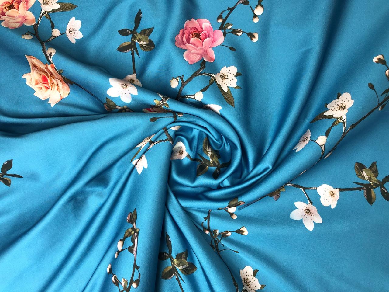 Шелк сатин весенний сад, голубая бирюза