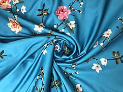 Ткань Шелк сатин весенний сад, голубая бирюза