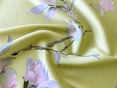 Ткань Шелк сатин цветочная нежность, лимонно-желтый