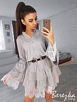Платье женское модное пышная юбка с оборками и рукава клеш с кружевом с люрексом Sms3037, фото 1