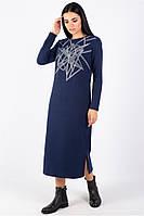 Повседневное платье из плотного трикотажа прямого силуэта длиной до середины икры синего цвета, фото 1