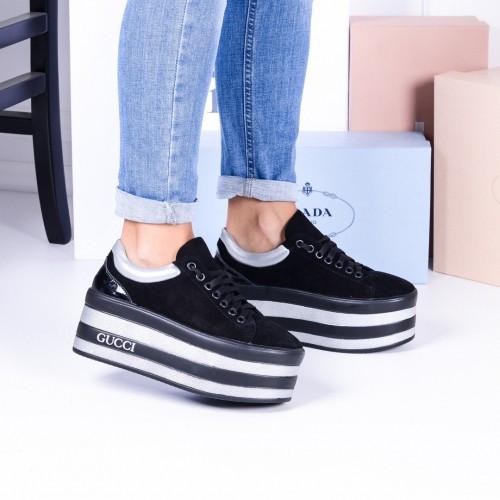 Кроссовки - слипоны на платформе черные замш