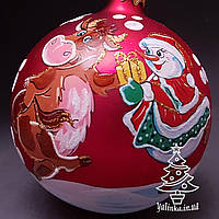 Стеклянный шар на елку Символ года 100413 Бык