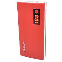 Внешнее зарядное устройство Power Bank DOCA D566II с LED дисплеем (13000mAh), красный