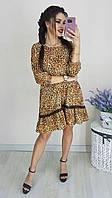 Женское платье софт серый крупный серый мелкий рыжий 42 44 46