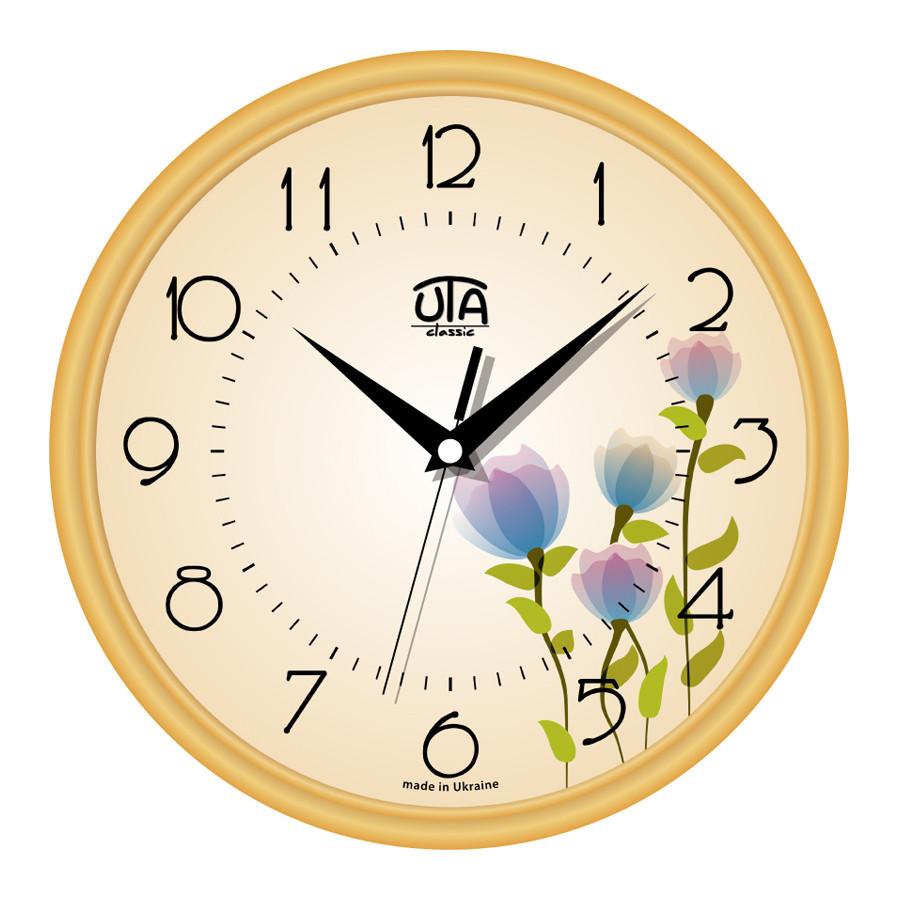 Часы настенные UTA Сlassic 300 х 300 х 45 мм с золотым ободом цветущий льон