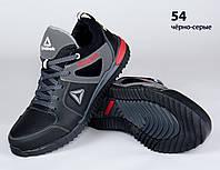 Кожаные подростковые кроссовки Reebok (реплика) (54 Черно-Серые)