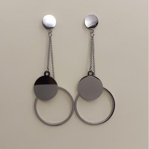 Сережки большие с подвесками в форме кругов медицинская сталь 177227