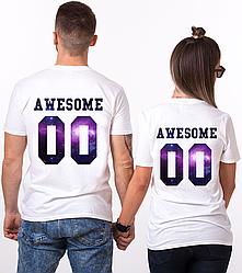 """Парные именные футболки """"Awesome - Space"""" [Цифры можно менять] (50-100% предоплата)"""