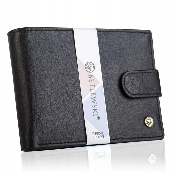 Чоловічий шкіряний гаманець Betlewski з RFID 9,5 х 12,5 х 2,5 (BPM-BH-60) - чорний