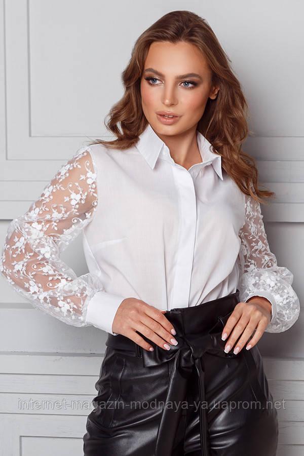 Блуза белая свободная с прозрачными рукавами р. S M L