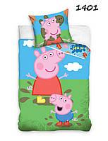 Комплект постельного белья NR 1401 Свинка Пеппа M&M 0013 Зеленый, Розовый, Синий