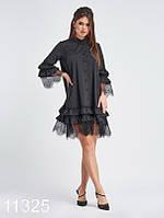 Платье-трапеция с планкой на пуговицах