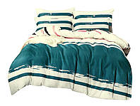 Комплект постельного белья Сатин Dalwin 131 M&M 2678 Кремовый, Зеленый