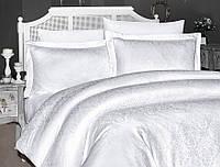 Комплект постільної білизни First Choice Jacquard Misra Beyaz сатин 220-160 см білий