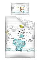 Комплект постельного белья Хлопковый Детский NR 2854B M&M 6292 Белый, Зеленый