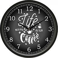 Часы настенные UTA Сlassic 300 х 300 х 45 мм с чёрным ободом кухонные